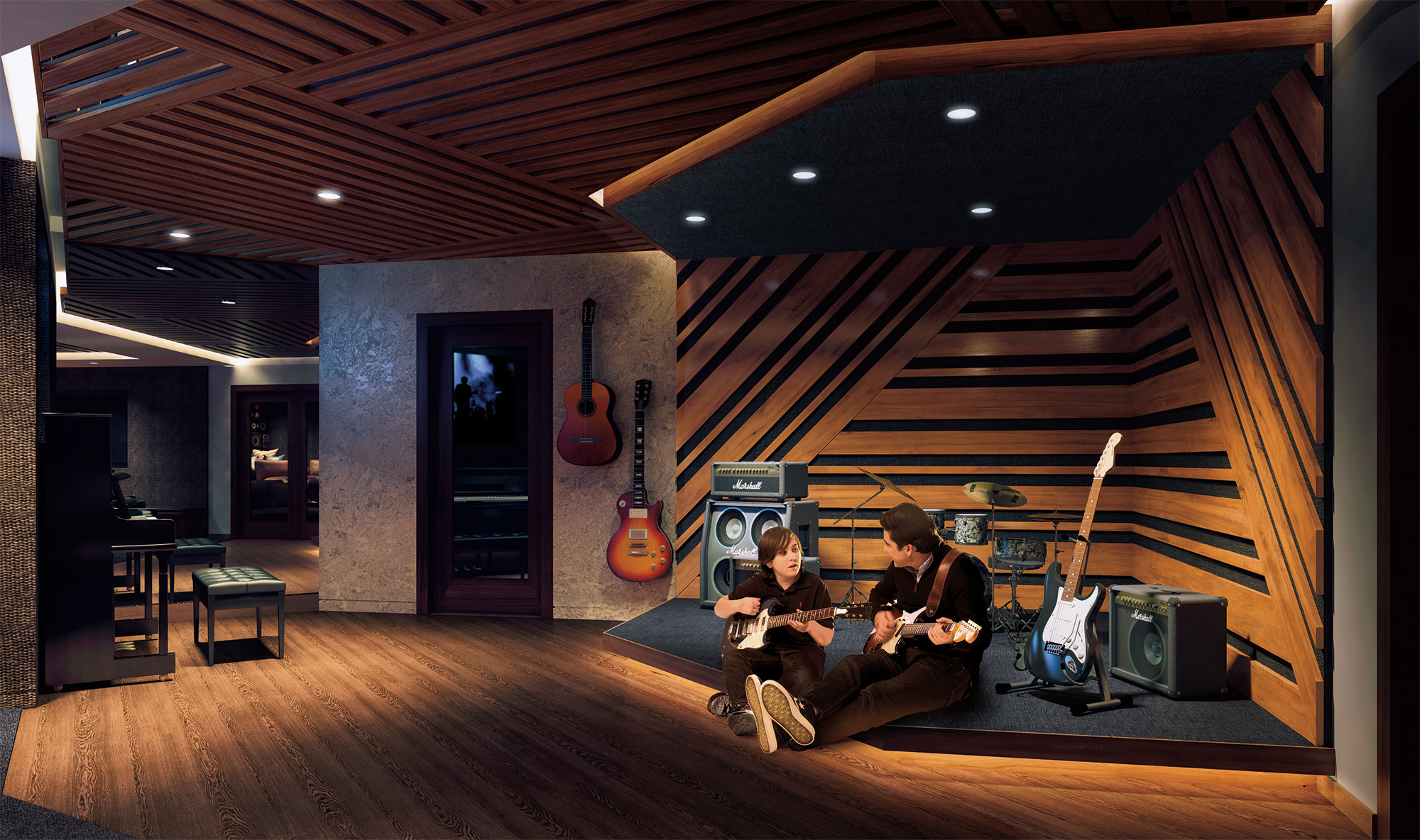 A Father and Son playing Guitars in the Sound Lounge